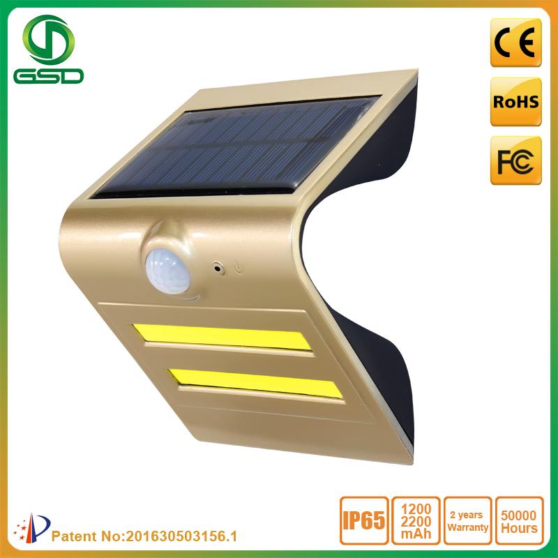 1.5W Solar Sensor LED wall light Golden