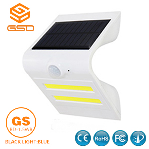 1.5W LED Solar Wall Light With White Housing (Black Light Blue)