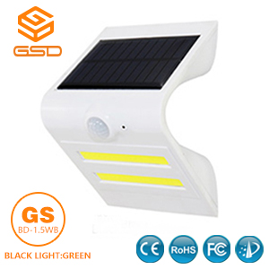 1.5W LED Solar Wall Light With White Housing (Black Light Green)