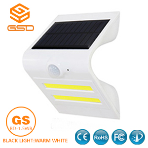 1.5W LED Solar Wall Light With White Housing (Black Light Warm White)