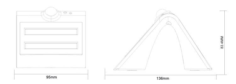 LED Solar Wall lamp Size