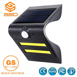 1.5W LED Solar Wall Light With Black Housing (Black Light Blue)